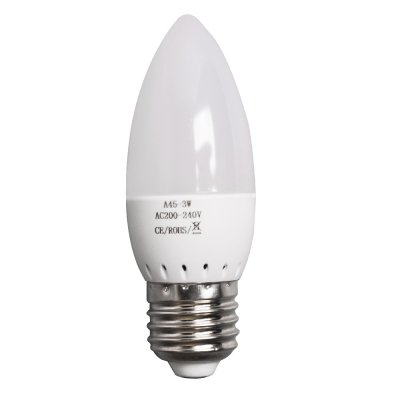 3W E27 LED Light Bulb 160LM Plastic Shell Candle Shape