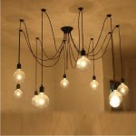 E27 Retro Vintage Multiple Ajustabl DIY Ceiling Spider Lamp