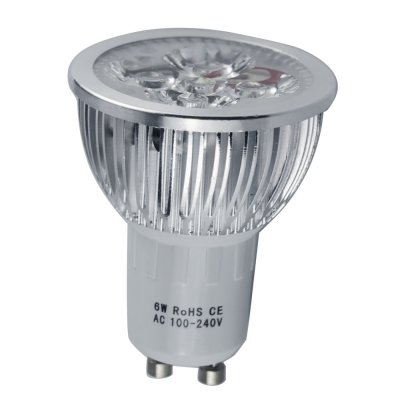 6W GU10 LED Spotlight Bulbs Aluminum Shell Luminous 260-280LM