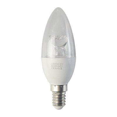 8W E14 LED Light Bulb Candle Shape 540LM Plastic Shell