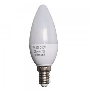 5W E14 LED Light Bulb 280LM Plastic Shell Candle Shape Dimmable