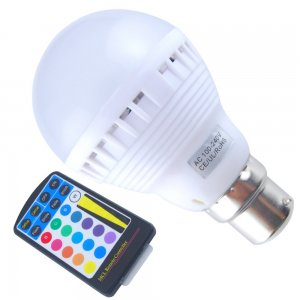 5W B22 RGB LED Light Bulb 450LM Plastic Shell